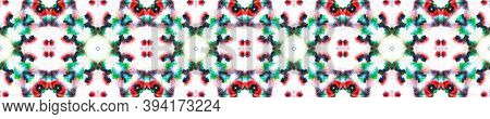 Tie Dye Texture. Tribal Backdrop.  Red, Green, Black And White Textile Print. Multicolor Natural Eth