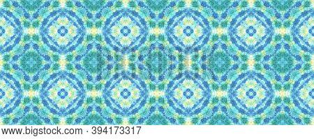 Batik Brush. Asian Backdrop.  Blue And Yellow Textile Print. Rainbow Natural Ethnic Illustration. Sh