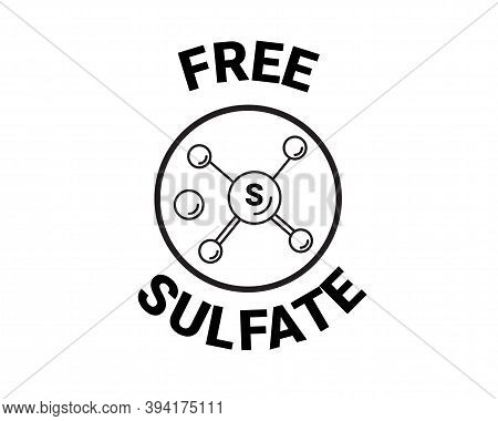 Free Sulfate Icon. Chemical Model Sls. Vector Sign. Back And White Badge