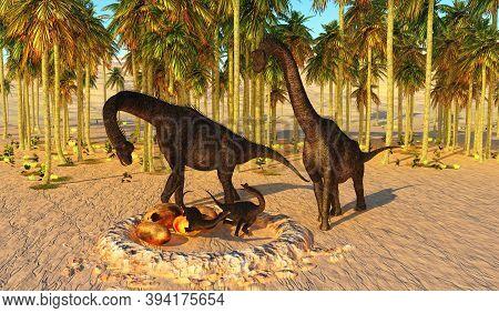 Dinosaur Baby Nest 3d Illustration - Two Brachiosaurus Parents Watch Their Offspring Hatch From Dino