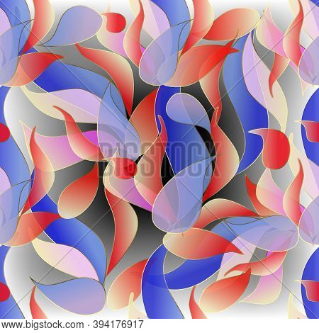 Translucent Colorful Paisley Flowers Seamless Pattern. Vector Ornamental Floral Glowing Background.