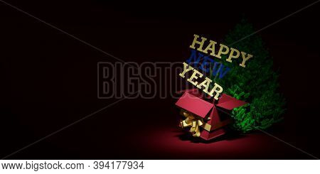 3d Rendering. Christmas Background. Bright Postcard. New Year Banner With Bright Elements. Red Herri