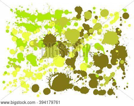 Ink Stains Grunge Background Vector. Colorful Ink Splatter, Spray Blots, Dirt Spot Elements, Wall Gr