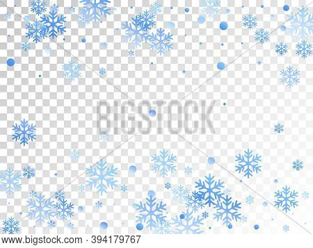 Winter Snowflakes And Circles Border Vector Illustration. Unusual Gradient Snow Flakes Isolated Card