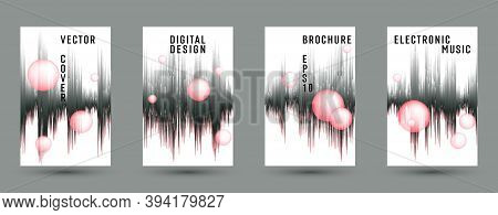 Music Banners Set With Dj Equalizer Background.  Abstract Pulse Amplitude.  Distorted Sound Wave Equ