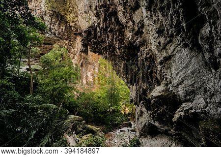 The Landscape Of Tham Tarn Lod Yai Cave In Kanchanaburi Province, Thailand