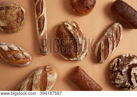 Assortment Of Different Tasty Baked Bread For Eating. Close Up Photography, Great Design For Any Pur