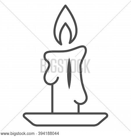 Burning Candle Thin Line Icon, New Year Concept, Candle Sign On White Background, Burning Candle In