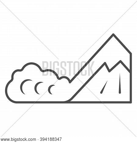 Snow Avalanche Thin Line Icon, World Snow Day Concept, Natural Disaster Sign On White Background, Wi