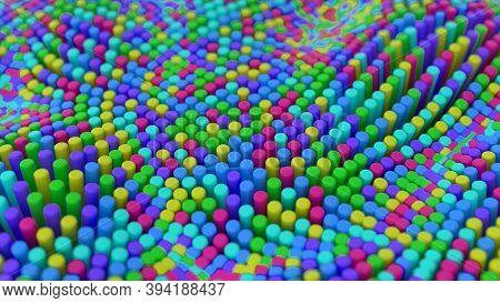 Abstract Multicolored Rainbow Colorful Background With Cylinders. Ceramic Round Tiles. Geometry Patt