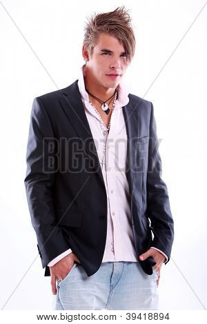 Portrait of fashionable young guy with stylish hair