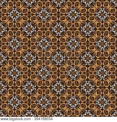 Beautiful Flower Patterns On Typical Solo Batik With Blend Gold Brown Color Design.