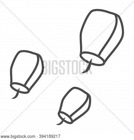 Chinese Lantern Thin Line Icon, Chinese Mid Autumn Festival Concept, Flying Paper Flashlight Sign On