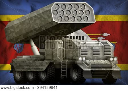Rocket Artillery, Missile Launcher With Grey Camouflage On The Swaziland Flag Background. 3d Illustr