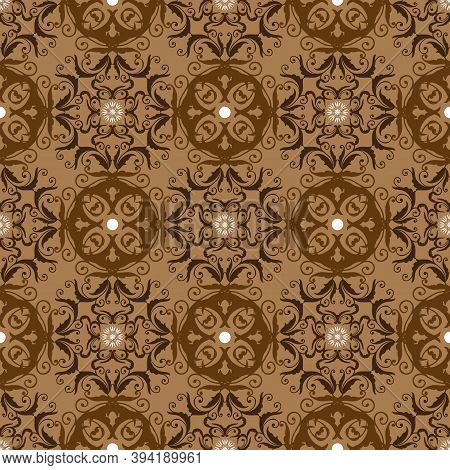 Modern Flower And Circle Motifs On Fabric Solo Batik With Smooth Brown Color Design.