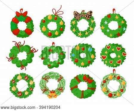 Christmas Wreath Isolated Design Elements, Green Pine Wreath With Festive Christmas Or New Year Deco