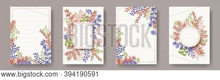 Botanical Herb Twigs, Tree Branches, Leaves Floral Invitation Cards Collection. Herbal Corners Natur