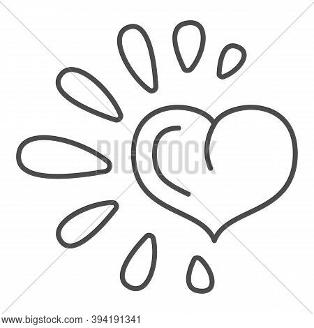 Healthy Heart Thin Line Icon, Healthy Lifestyle Concept, Life Without Drug Sign On White Background,