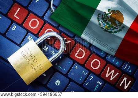 Mexico Covid-19 Coronavirus Lockdown Restrictions Concept Illustrated By Padlock On Laptop Red Alert