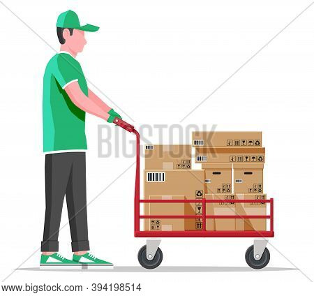 Courier With Barrow Full Of Boxes Isolated On White. Metallic Wheeled Trolley With Cardboard Box And