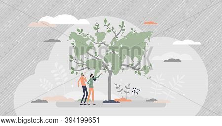 Sustainability Tree As Ecological Green World Map Tiny Person Concept. Worldwide Responsible Resourc