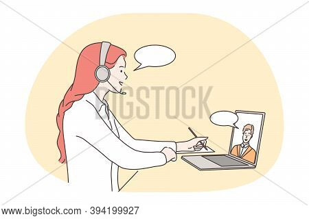 Online Meeting, Communication, Distant Work, Teleconference Concept. Young People Business Partners