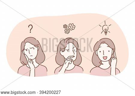Insight, Thinking And Having Great Innovative Idea Concept. Face Of Young Woman Cartoon Character Th