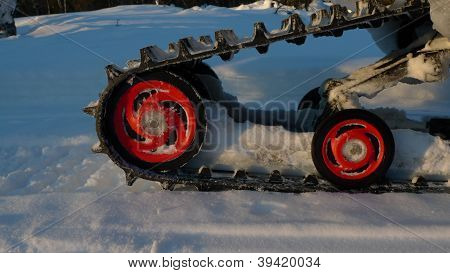 red snowmbile wheels