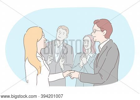 Agreement, Deal, Business, Successful Negotiations, Teamwork Concept. Young Business People Man And