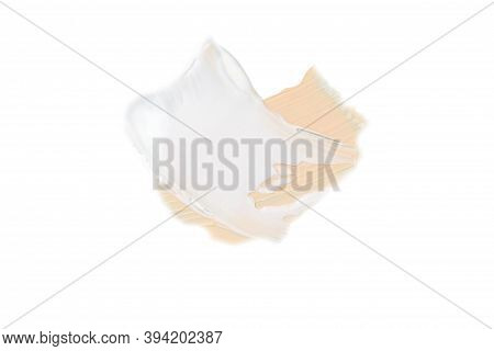 Color Corrector Strokes Isolated On White Background. Beige And White Colour Correcting Cream Concea