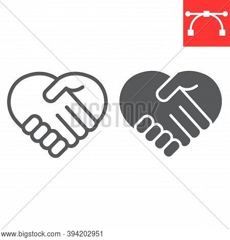 Heart Handshake Line And Glyph Icon, Love And Help, Handshake Sign Vector Graphics, Editable Stroke