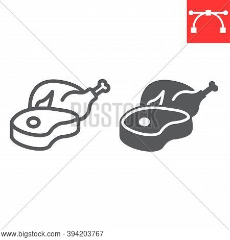 Meat And Poultry Line And Glyph Icon, Chicken Meat And Steak, Beef Sign Vector Graphics, Editable St