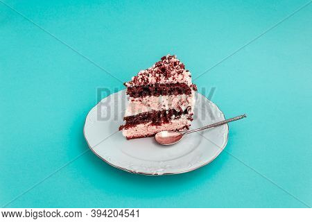 Piece Of Cake On Vintage White Plate.
