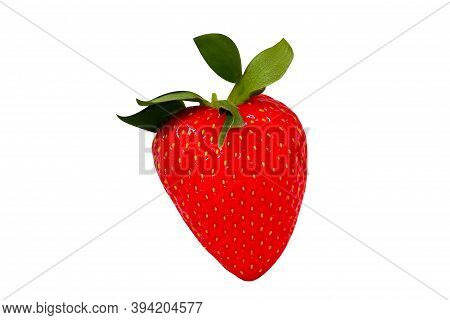Whole Fresh Strawberry With Green Leaves. Isolated.