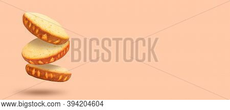 Culinary Baking Banner. Levitation Effect. Copy Space.