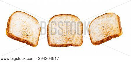 Toasted Bread. Isolated On White Background. Different Shooting Angle. Three Slices Of Cereal Bread