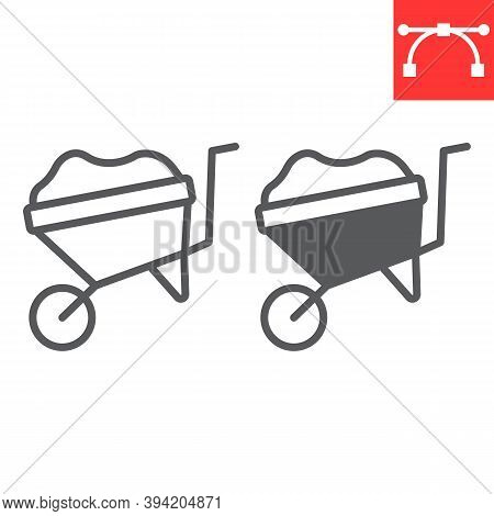 Wheelbarrow Line And Glyph Icon, Construction And Agriculture, Wheel Barrow Sign Vector Graphics, Ed