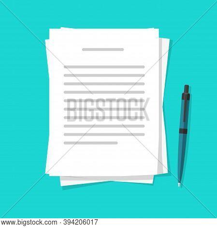 Writing Text Letter Content On Paper Document Sheets Via Pen Vector Flat Cartoon Illustration, Idea