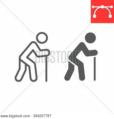 Old Man With Cane Line And Glyph Icon, Disability And Pensioner, Old Man With Walking Stick Sign Vec
