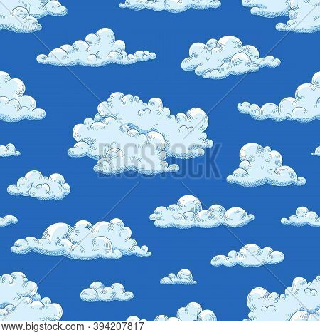 Seamless Pattern With Gorgeous Natural Cloudscape. Repetitive Background With Fluffy Clouds Or Cury
