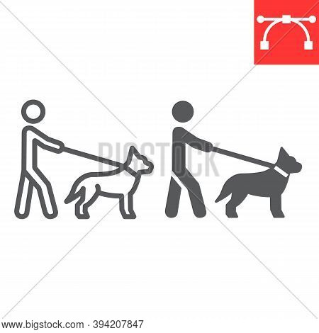Blind Man With Guide Dog Line And Glyph Icon, Disability And Pet, Blind With Guide Dog Sign Vector G