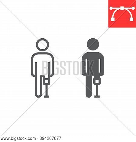 Man With Leg Prosthesis Line And Glyph Icon, Disability And Artifical, Handicapped Person With Prost