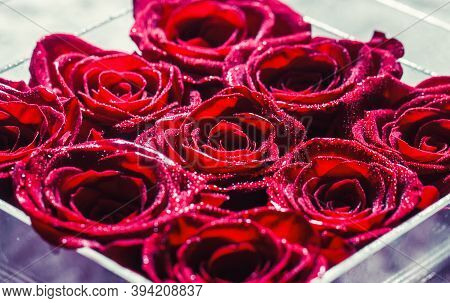 A Close Up Macro Shot Of A Red Rose. Flower Shop. Red Rose Flower, Petals. Bouquet Of Flowers, Fresh