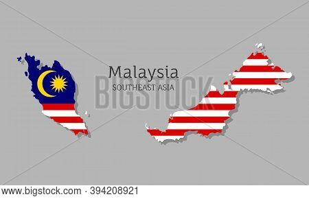 Map Of Malaysia With National Flag. Highly Detailed Editable Map Of Malaysia, Southeast Asia Country