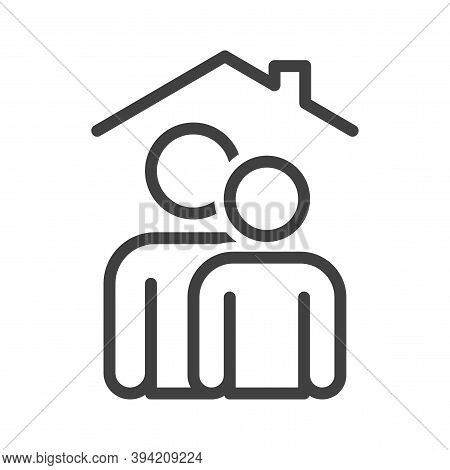 Self-isolation Family Icon. A Simple Image Of People Of Different Heights One After Another. Self-is