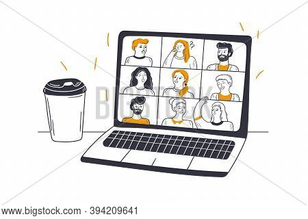 Online Meeting, Video Conference, Business Concept. Group Of Diverse Men Women Businesspeople Enjoy