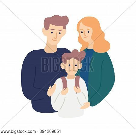 Parents Hug And Support Child On His First Day At School. Mother And Father Care And Love Son. Happy