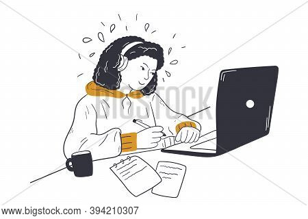 Call Center, Business, Customer Support Concept. Young Buinesswoman Freelancer Manager Customer Serv