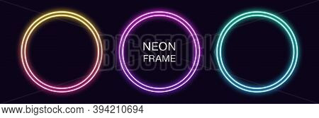 Gradient Neon Circle Frame. Vector Set Of Round Neon Border With Double Outline. Geometric Shape Wit