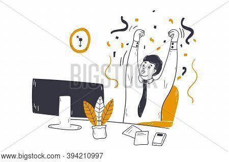Business, Success, Goal Achievement Concept. Happy Young Businessman Clerk Manager Cartoon Character